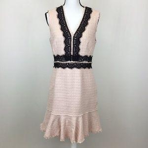 Rebecca Taylor 10 Sleeveless Tweed Lace Dress